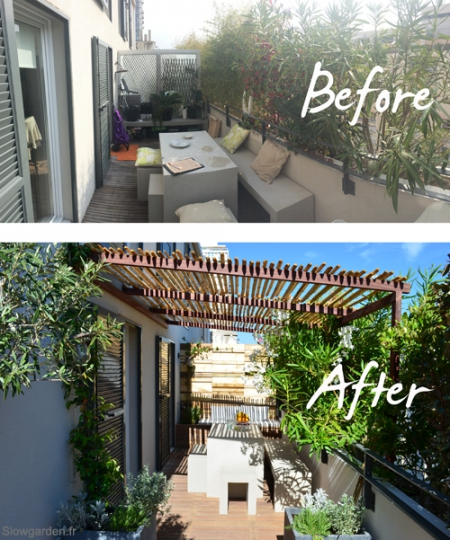 Slowgarden terrace. Before and after / Via Lejardindeclaire