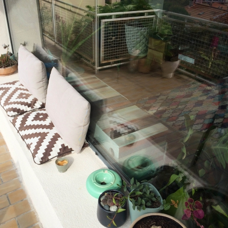 Chez Slowgarden / Marseille, South France. Terrace, coffee & cacti.