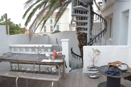 by lejardindeclaire,terrasse marseille,slowgarden,palmier,vue mer,ibiza,turquoise,mobilier outdoor,relooking