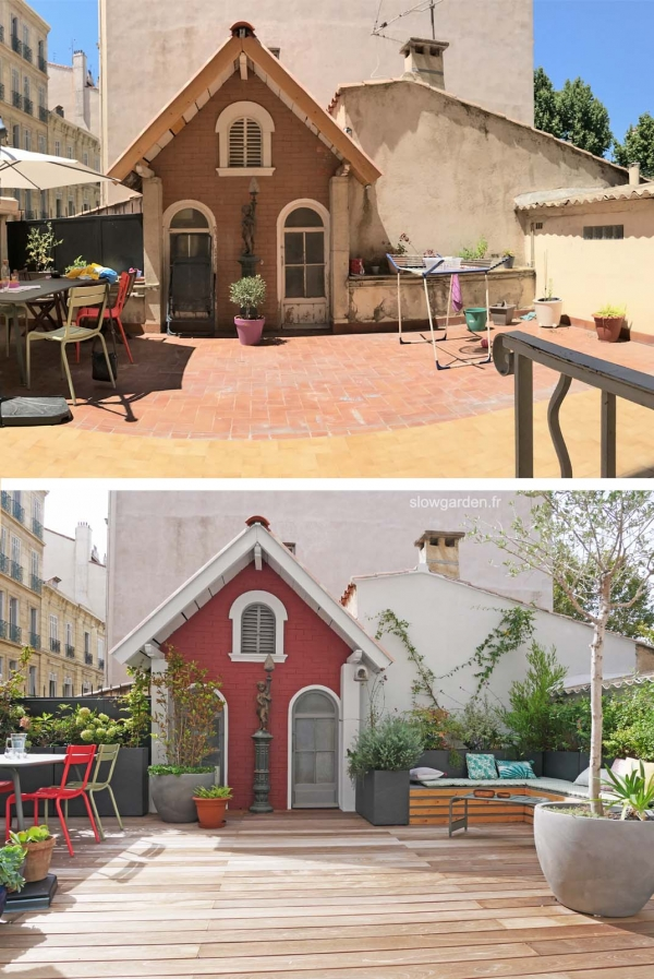 terrasse marseille, terrasse, slowgarden, cabane marseille, cabane, cabane jardin, terrasse bois, avant apres, before after, renovation terrasse, jardin marseille, jardin de ville, terrasse en ville, mur rouge, terrasse mur rouge, coin salon, banquette salon jardin, diy banquette jardin, outdoor livingroom, marseille