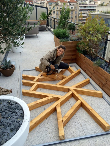 Terrace by Slowgarden / wood screen construction